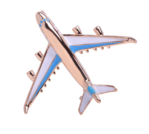 Airplane Lapel Blue Enamel Stainless Steel Knot Around Your Neck Brooches