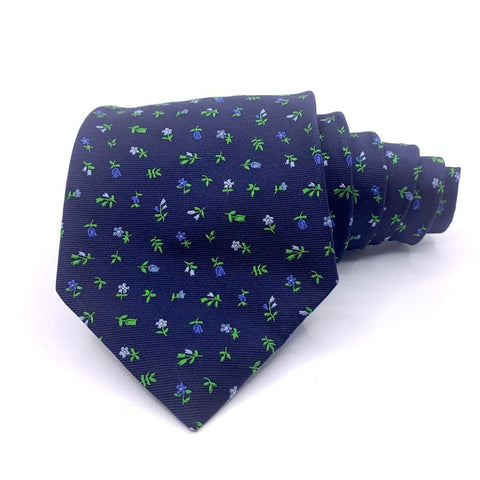Brooks Brothers Tie 346 Blue Floral Pattern