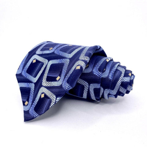 Concepts By Claiborne Tie Silk Blue Geometric Pattern