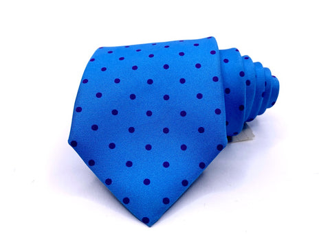 J. McLaughlin Tie Blue With Purple Polka Dots