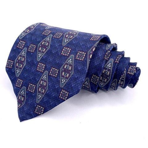 Andhurst Tie Silk Blue Ornimental Pattern