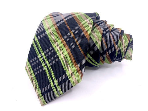 Original Penguin Tie Blue Yellow Plaids and Checks Pattern