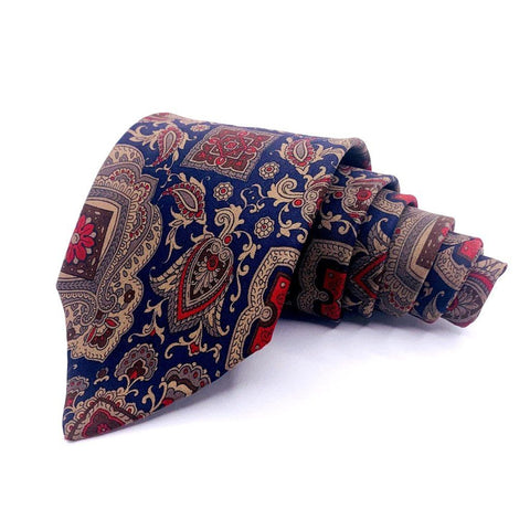Claiborne Tie Blue Ornamental Pattern