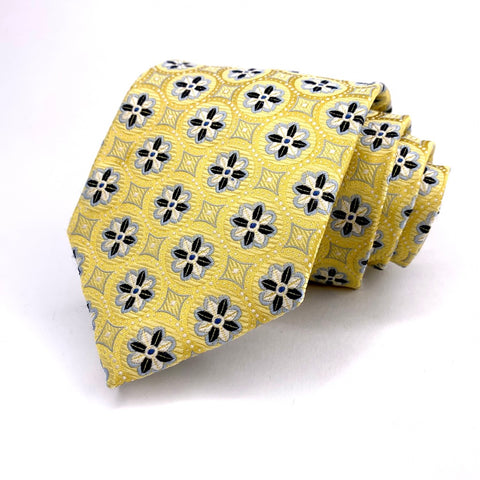 Valerio Garati Tie Yellow Silk Geometric Pattern