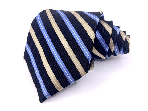 Chaps Tie Silk Striped Blue and Gold