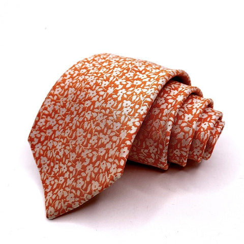 Geoffrey Beene Tie Silk Orange Floral Pattern