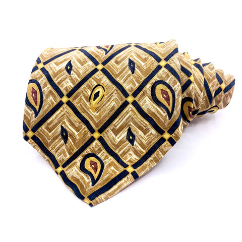 Robert Talbott Tie Silk Gold Geometric Pattern