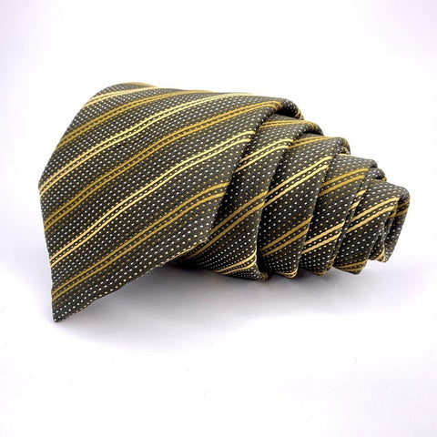Andrew's Ties Tie Green Silk Striped Pattern