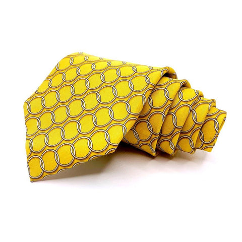 Bird Dog Bay Tie Gold Geometric Pattern