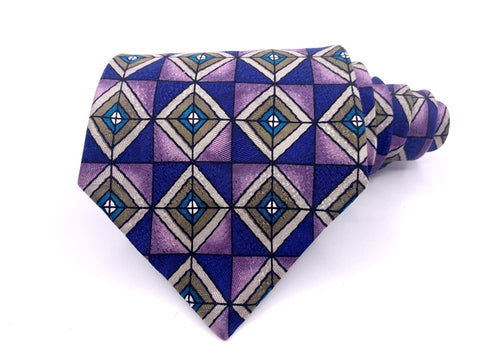Martin Wong Tie Geometric Pattern Purple/Green