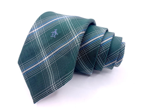 Original Penguin Tie Green Plaids and Stripes