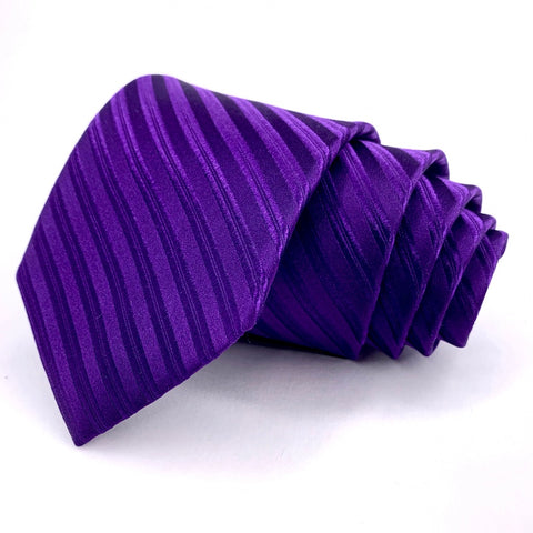 Nicole Miller Tie Purple Silk Striped Pattern