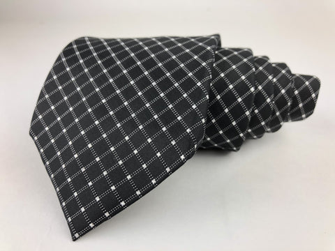 Alfani Tie Silk Black White Window Pane Pattern Ties Alfani