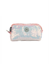 White/peach Sequin Pencil Case