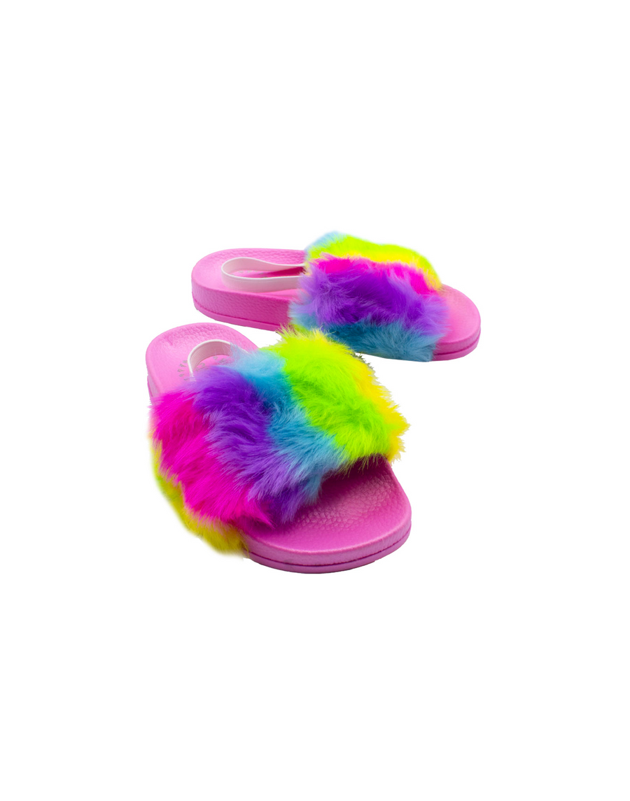 Hot Pink Rainbow Baby Fur Slide