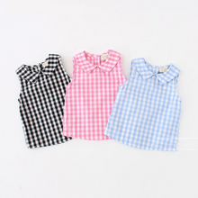 Baby Girls Tee-Tops, Multicolor Plaid Lapel Sleeveless T-shirt