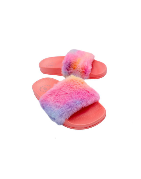 Peach Tie Dye Fur Slide