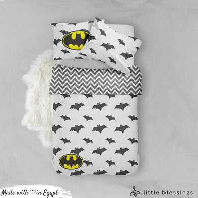 Batman Logo ( White ) Bed Set