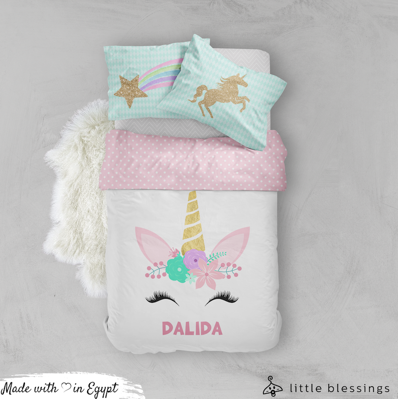 Smiling Unicorn Bed Set