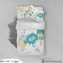 World Map Bed Set
