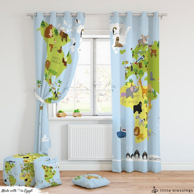 World Map Room Curtains