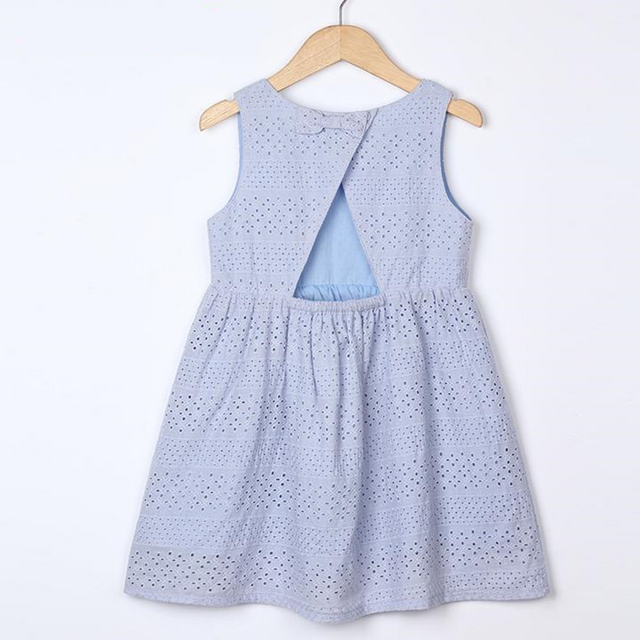 Blue Hollow out Design Dress
