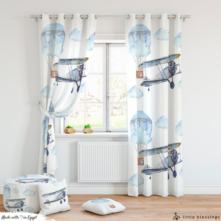 Watercolour Airplane Curtains