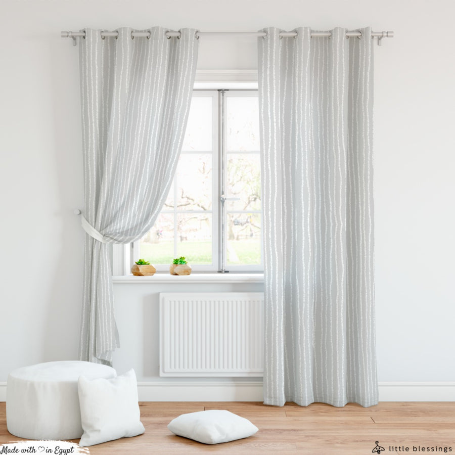 Vertical Shades Of Gray Curtain