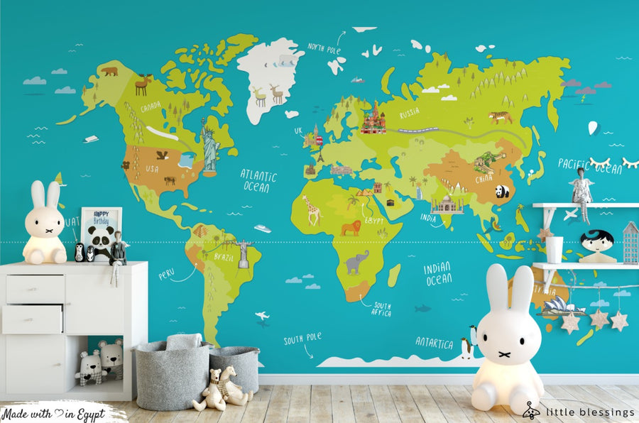 World Map & Jungle Wallpaper