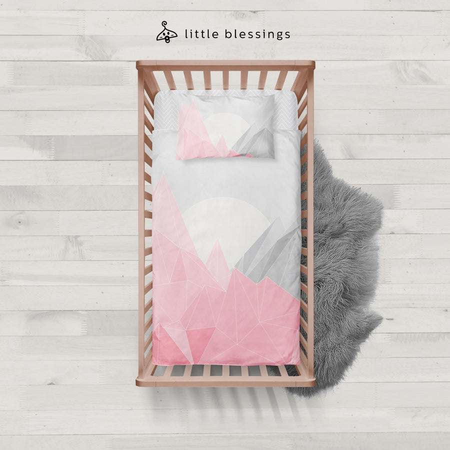 Pink Mountains Baby Bed Set