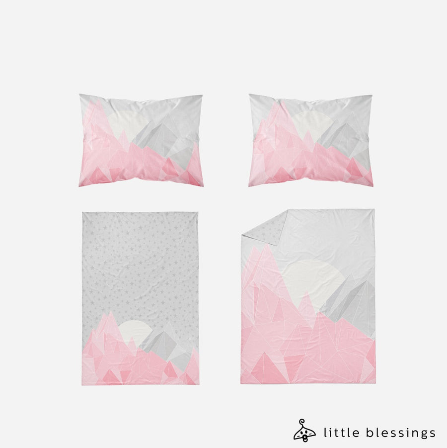 Pink Mountains And Stars Bed Set