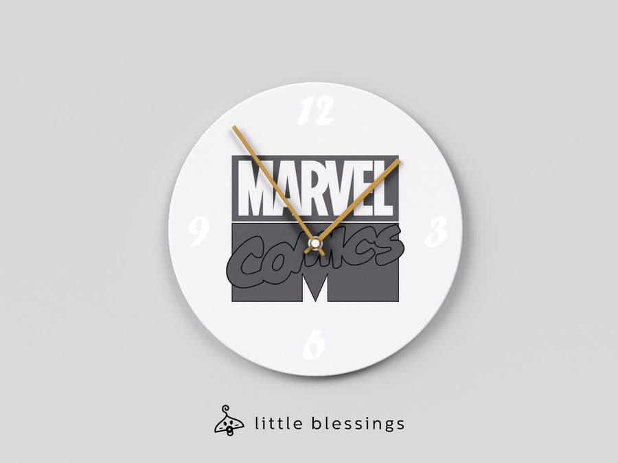 Black And White Marvel Wall Clock