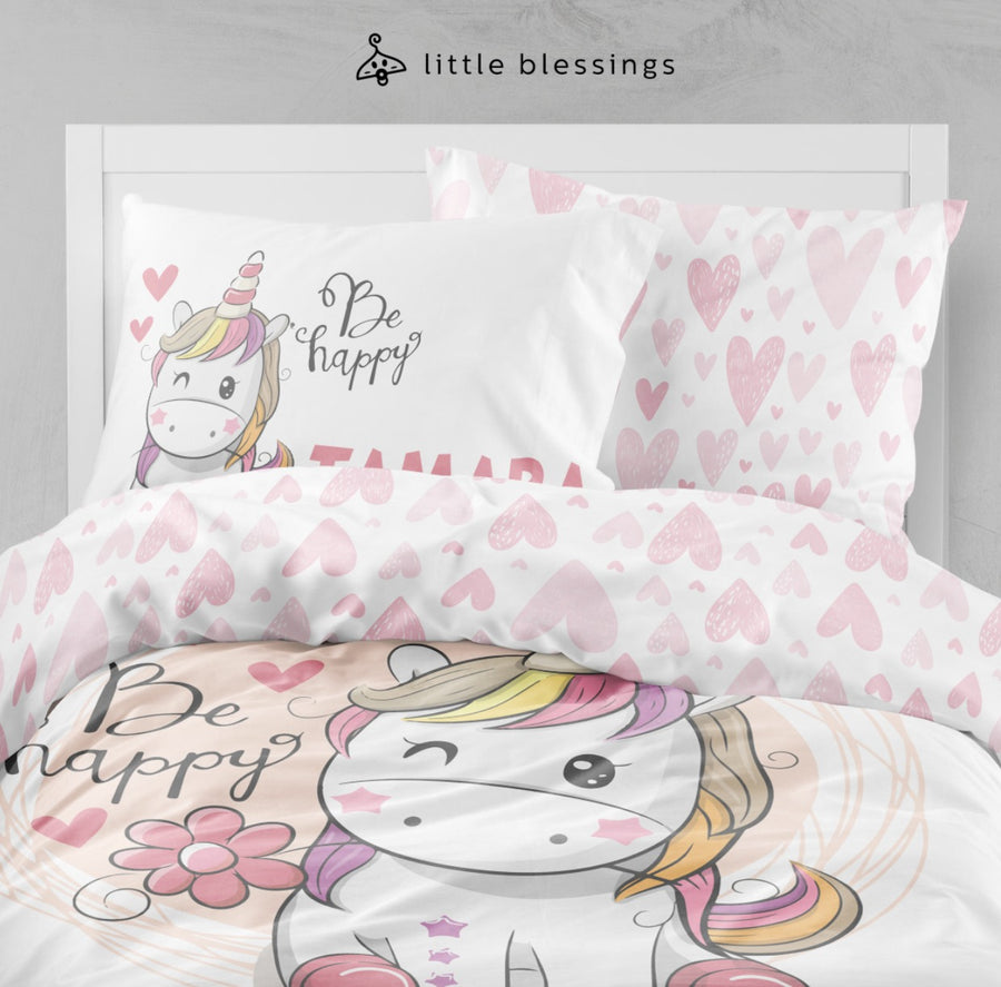 Unicorn Pink Love Bed Set