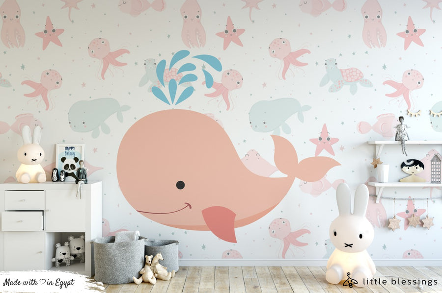 The Whale and the Sea Horse Wallpaper