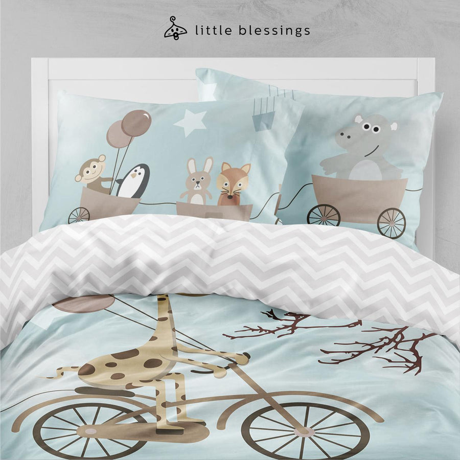 Cartoon Sky Animals Bed Set