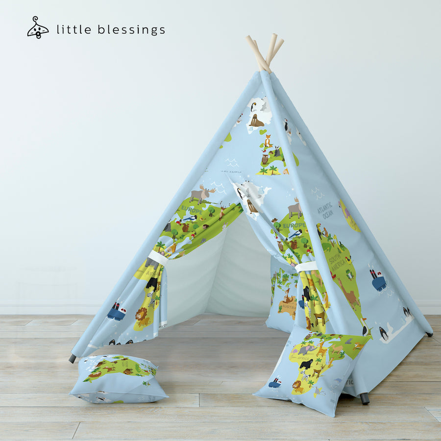 World Map & Animals Teepee