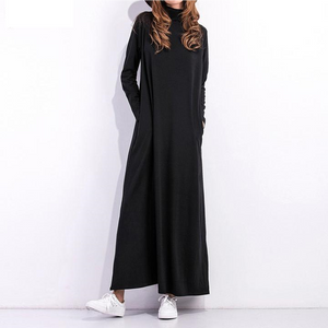 Black Dress Long Sleeve Turtleneck Dress
