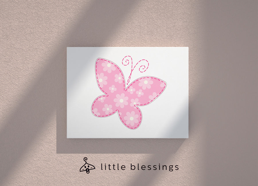 Flowers & Butterflies Canvas (Pink Butterfly)