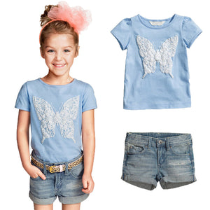 New casual dress cartoon sky blue T-shirt +jeans girls clothing sets children clothing girls clothes