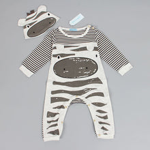 New style baby boys clothes (Zebra gray long-sleeved jumpsuit+hat baby suit)