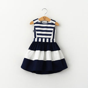 Military Style Girls Dress (Navy Wind Back Hollow Out Stripe Splicing Sundress)