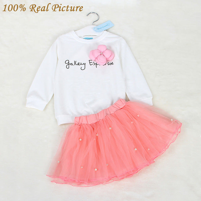 Awesome White Tee Shirt and Pink Skirt With Rhinestone Set