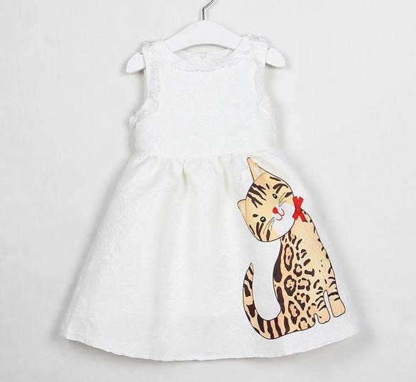 New Style Sleeveless Lace Cartoon Cat Printing for 3-8years