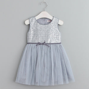 Sleeveless Solid Bow Voile Princess Dress