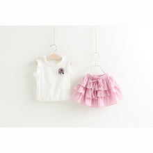 NEW Style Kids Clothing Sets Sleeveless White T-shirt+Pleated skirt 2Pc Girl Suit