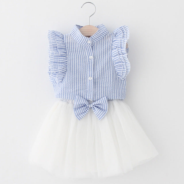 Style Girls Clothing Set, Butterfly Sleeve Striped T-shirt+Bow Short Skirt 2Pcs