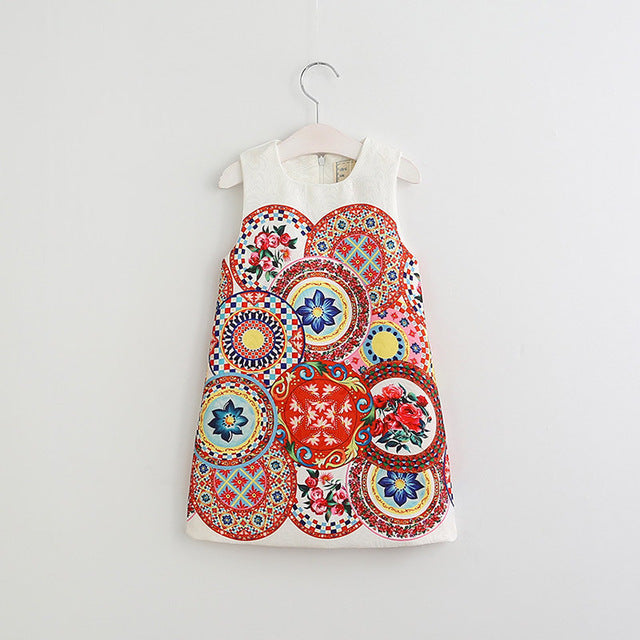 Colorful Children Pattern Sleeveless Dress