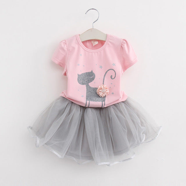 Pink Cartoon Kitten Print Voile Design for Princess Dresses