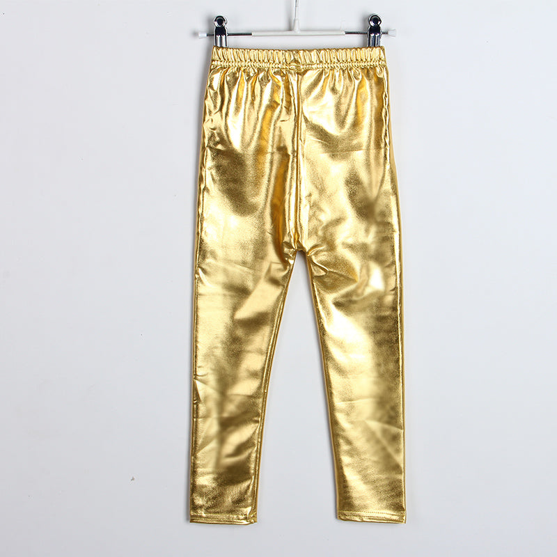 NEWEST! 4-8years skinny Gold Black Red Silver kid leather pants, girls legging!