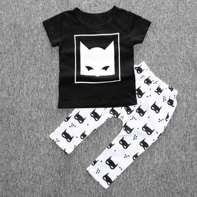 Bat Boy! New Cotton Short Sleeve Cartoon T-shirt+Pants 2pcs (Infant & Newborn)
